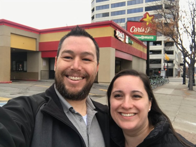 December 16, 2019 - A quick visit to Carl's Jr. to take a picture. The author, David Clayton and his beautiful sweetheart, Ioana Clayton.